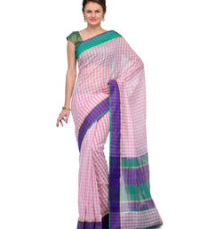Buy Pink checkred cotton saree with blouse cotton-saree online