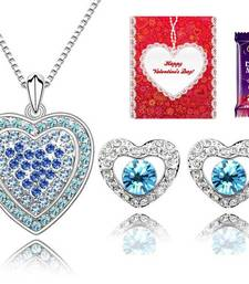 Buy Valentine Special Blue Heart Pendant Set with Valentine card and chocolate valentine-gift online