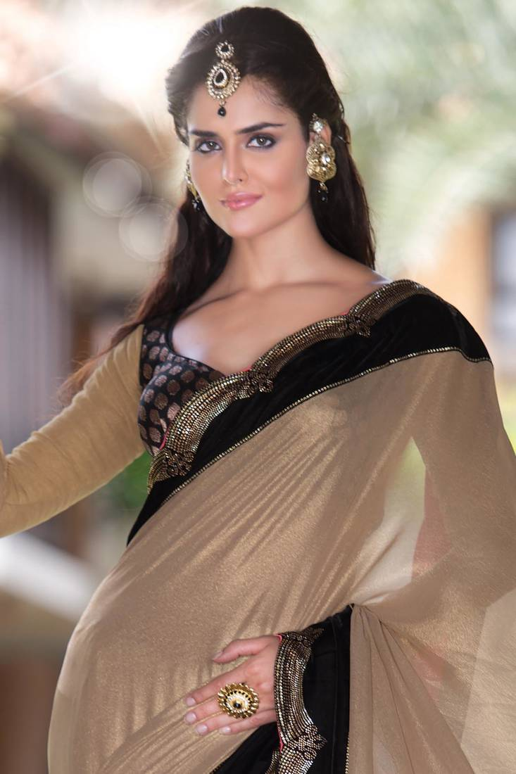 Buy gold foil shimmer party wear saree in black velvet border sr5719