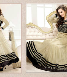 Cream Embroidered Work georgette semi-stitched salwar with dupatta s3001 shop online