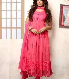 Buy Peach Embroidered Work net semi-stitched salwar with dupatta party-wear-salwar-kameez online