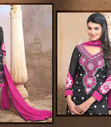 Buy Black Embroidered Work chanderi semi-stitched salwar with dupatta party-wear-salwar-kameez online
