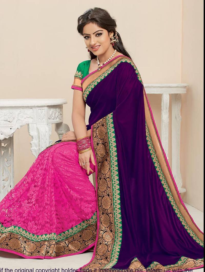 Buy Pretty Multicolour Half Velvet Half Brasso Net Replica