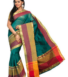 Buy Green plain cotton-silk saree with blouse cotton-saree online