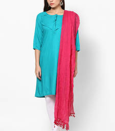 Buy Pink Cotton Solid Dupatta with Pom Pom Border stole-and-dupatta online