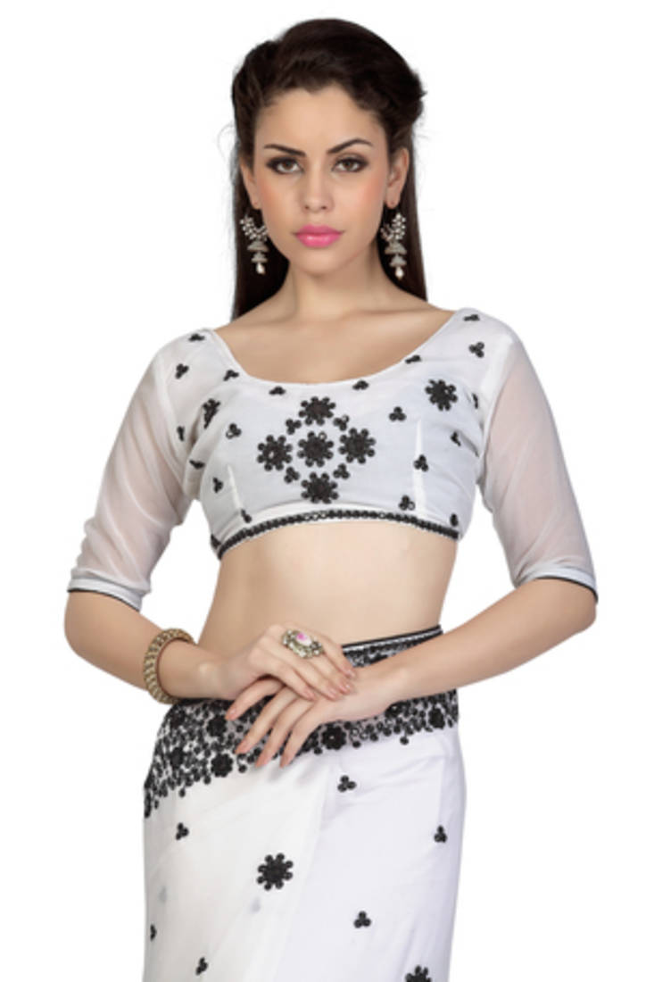 Buy White Embroidered Georgette Saree With Blouse Online