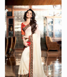 Buy White  embroidered net saree with blouse party-wear-saree online