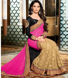 Buy Pink - beige embroidered chiffon saree with blouse party-wear-saree online