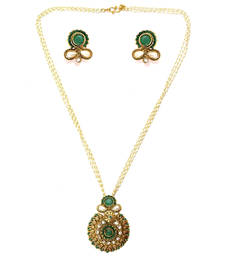 Buy Textured Round Drop Pendant Necklace Set - Green necklace-set online