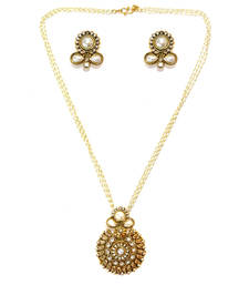 Buy Textured Round Drop Pendant Necklace Set - White necklace-set online