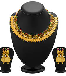 Buy Enchanting Gold Plated Temple Jewellery Coin Necklace Set for Women eid-jewellery online