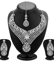 Buy Fabulous Rhodium Plated AD Necklace Set for Women bridal-set online