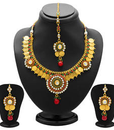 Buy Estonish Gold Plated  Temple Jewellery Coin Necklace Set for Women necklace-set online