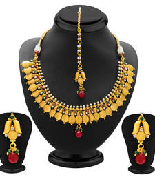 Buy Marvellous Gold Plated Temple Jewellery Coin Necklace Set for Women necklace-set online