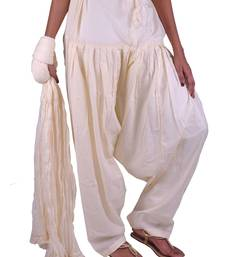 Buy Womens Cottage Offwhite Cotton Semi Patiala and Dupatta Set salwars-and-churidar online