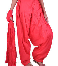 Buy Womens Cottage Red Cotton Semi Patiala salwars-and-churidar online
