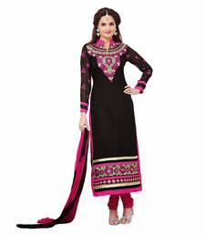 Buy Black embroidered cotton semi-stitched salwar with dupatta salwars-and-churidar online