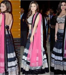 Buy black color embroidery work net fabric lehenga bollywood style with blouse piece bollywood-lehenga online