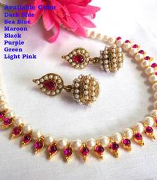 Dark pink pearl necklace set shop online