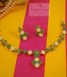 Buy Emerald Pearl Navratna Necklace Jewellery necklace-set online