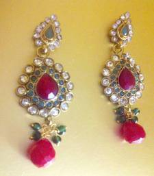 Buy Beautiful cute red green earrings with red pearls in the heart embellished with diamentes by adiva abchi0af0025 gifts-for-wife online