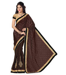 Buy Brown Satin Jaquard And Satin Embroidered saree with blouse satin-saree online
