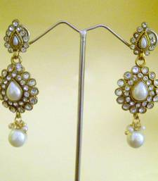 Buy Beautiful cute earrings with pearls in the tear drop shape embellished with diamentes by adiva abchi0af0029 gifts-for-girlfriend online