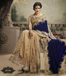 Buy Beige With Blue Heavy Machine & Hand Embroidery Wedding Saree wedding-saree online