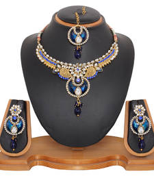 Buy Kundan Studded Jewelry Set in Royal Blue necklace-set online