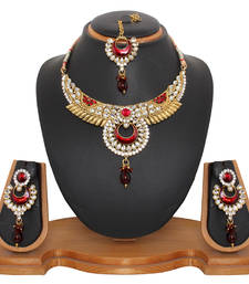 Buy Red chokari Necklace Set necklace-set online