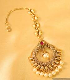 Buy Antique Ruby & Pearl Maang Tikka maang-tikka online