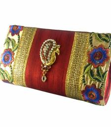 Buy abqa red silk embroidered clutch with peacock brooch  clutch online