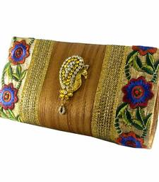Buy Abqa gold silk embroidered clutch with peacock brooch qa green silk embroidered clutch with peacock brooch  clutch online