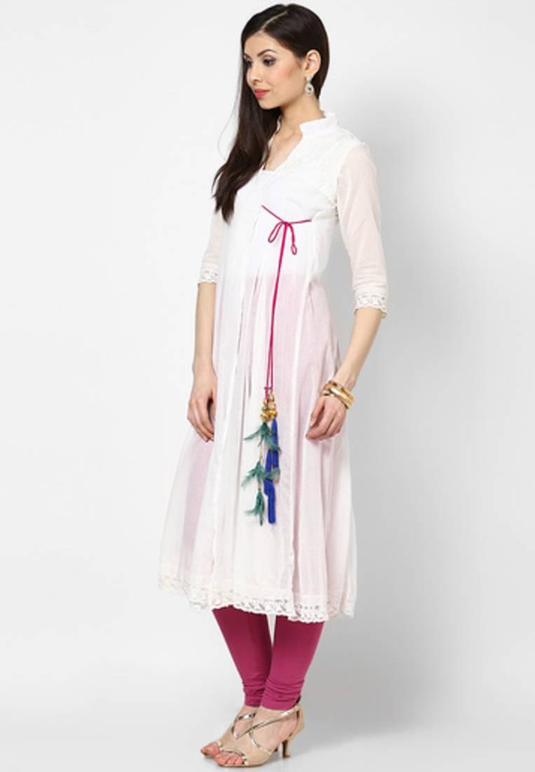 Buy White Cotton With Lace Long Kurta Kurti Online