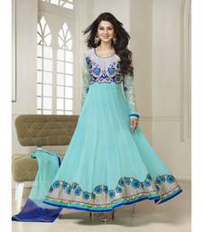 turquoise embroidered georgette semi-stitched salwar with dupatta shop online