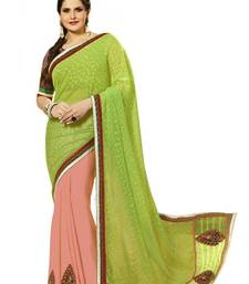 Buy Dark-Peach - Green embroidered georgette saree with blouse party-wear-saree online
