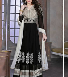 Buy Black embroidered georgette semi-stitched salwar with dupatta wedding-salwar-kameez online