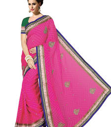 Buy Pink embroidered jute-cotton saree with blouse jute-saree online