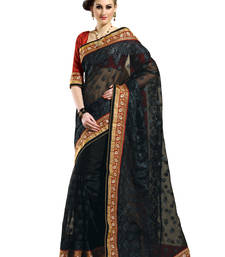 Buy Black embroidered art-silk saree with blouse net-saree online