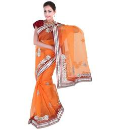 Buy Orange plain net  saree with blouse net-saree online