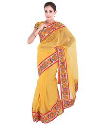 Buy Yellow plain net  saree with blouse supernet-saree online