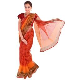 Buy multicolor printed net  saree with blouse supernet-saree online