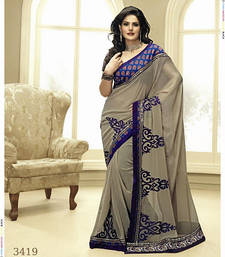 Buy Grey embroidered georgette saree with blouse zarine-khan-saree online