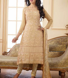Brown embroidered Georgette semi-stitched salwar with dupatta shop online