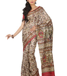 Buy multicolor Printed silk saree with blouse silk-saree online