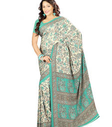 Buy Turquoise printed crepe saree with blouse crepe-saree online