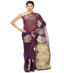 Buy Purple woven cotton-silk saree with blouse banarasi-saree online