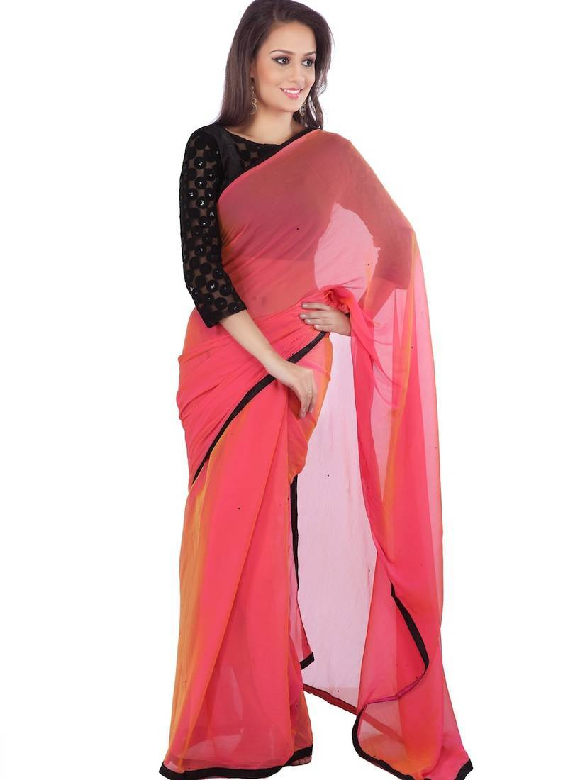 Buy Pink Plain Chiffon Saree With Blouse Online
