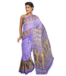 Purple printed cotton-poly saree with blouse shop online