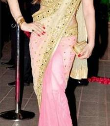 Buy Zarine Khan Bollywood Replica Designer Pink & Cream Saree Net pallu and Georgette pleats bollywood-saree online